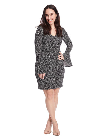 Abstract Zig Zag Bell Sleeve V-Neck Dress
