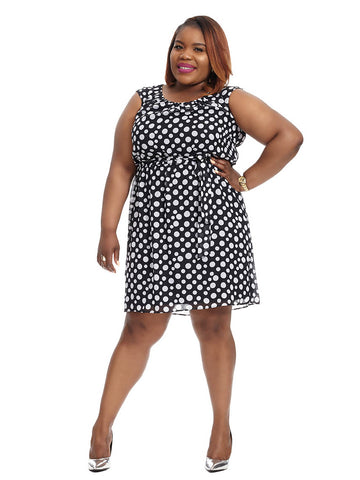 Cap Sleeve Blouson Dress In Polka Dot