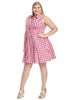 Sleeveless Pink Gingham Shirt Dress