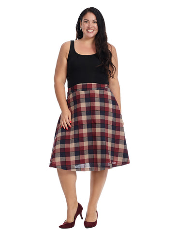 Plaid A-Line Midi Skirt