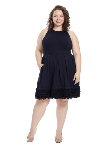 Fringe Hem Navy Fit And Flare Dress