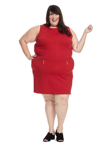Metropolitan Shift Dress In Revens Red