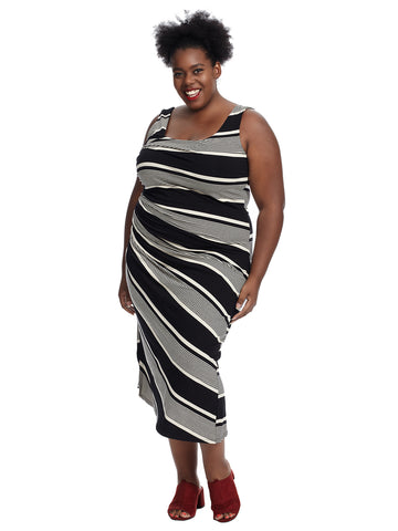 Sleeveless Venue Block Stripe Side Ruched Jersey Dress