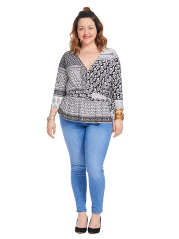 Patchwork Medallion Surplice Tie Front Top