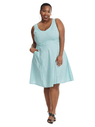 Angelina Dress In Aqua Dot