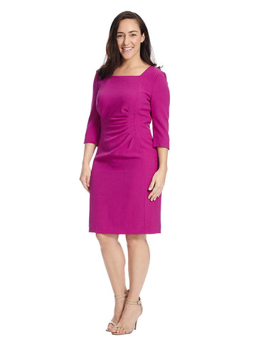 Crepe Sheath Dress In Bright Beet