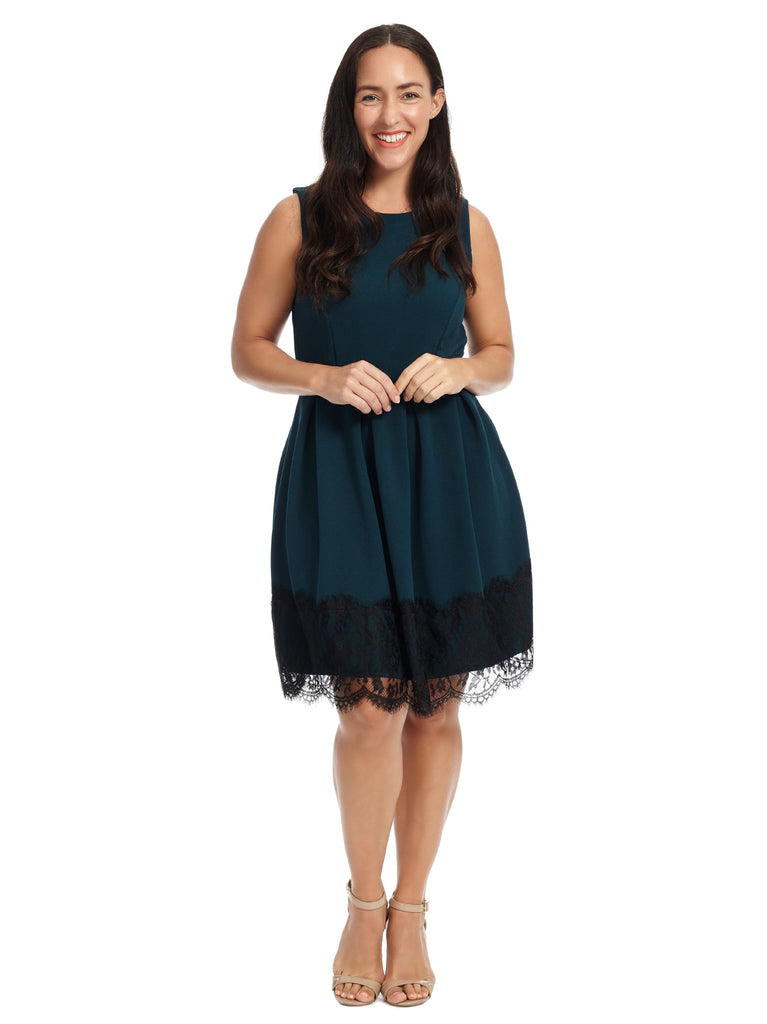 Lace Hem Teal Fit And Flare Dress