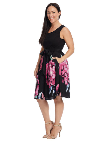 Rose Print Twofer Dress