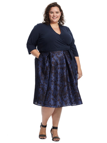 Navy Floral Print Twofer Dress