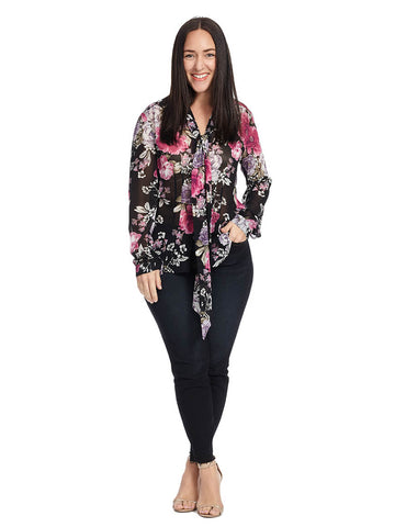 Tie Front Blouse in Floral Print