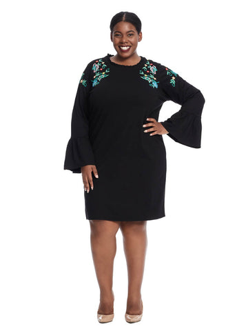 Flounce Sleeve Embroidered Dress In Black