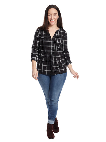 Plaid Henley Top With Tab Sleeves In Black