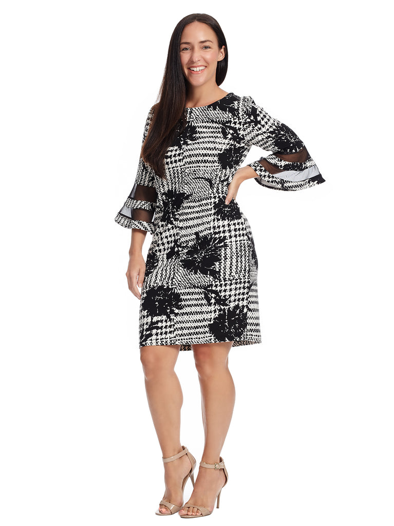Bell Sleeve Plaid And Floral Shift Dress