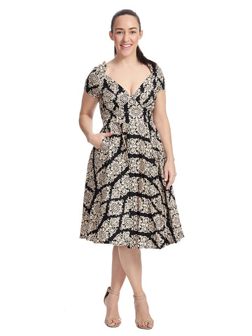 Printed Deveraux Dress In Black And Tan