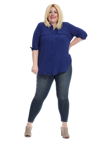 Utility Blouse In Cobalt Shadow