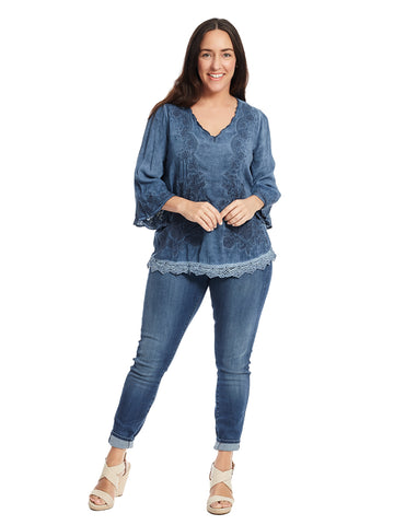 Scallop Neck Denim Wash Top