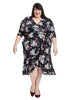 Flirty Flounce Vintage Floral Wrap Dress