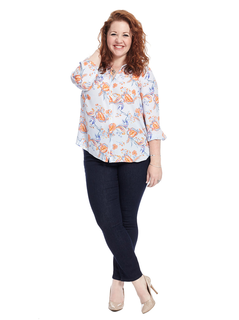 Pintuck Blouse In Blue Floral Print