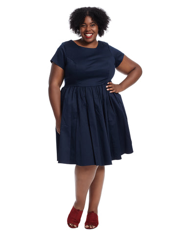 Short Sleeve Navy Fit And Flare Dress