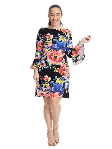 Bell Sleeve Floral Crepe Dress