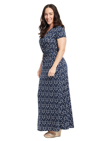 Navy And White Surplice Maxi Dress