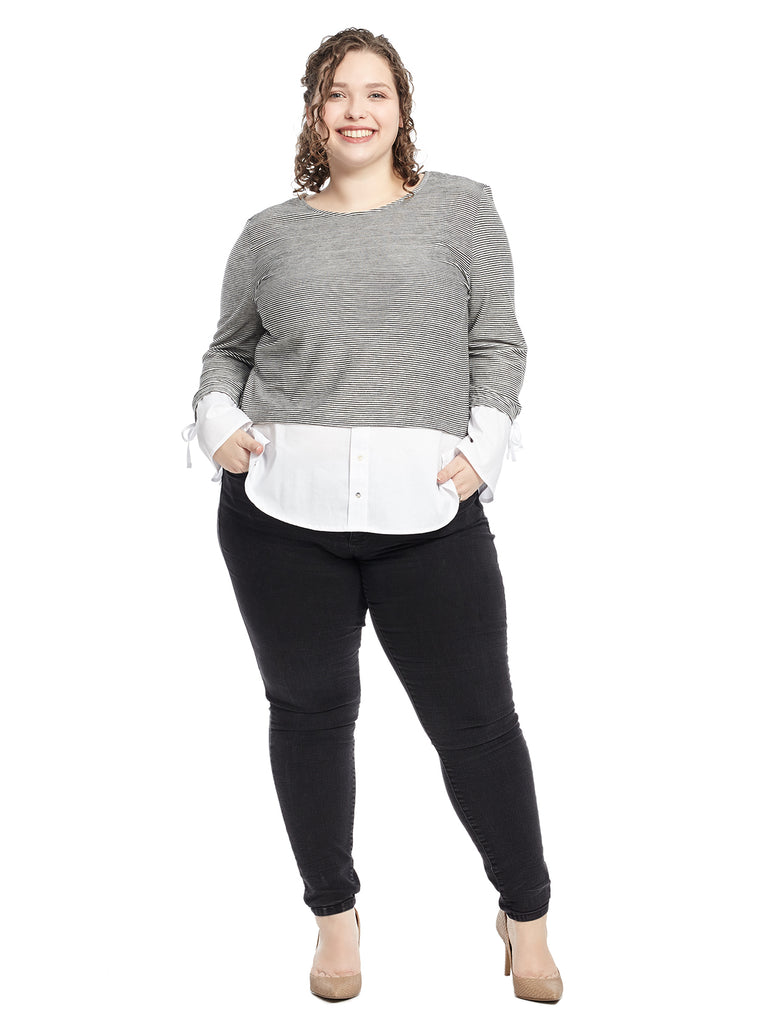 Tie Bell Sleeve Grey And White Twofer Top