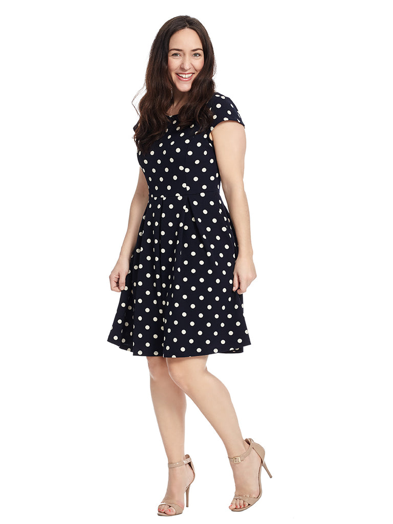Cap Sleeve Polka Dot Fit And Flare Dress