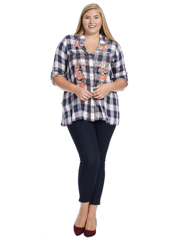 Floral Embroidered Navy Plaid Top