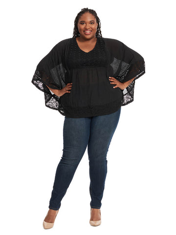 Belle Sleeve Blouse W/ Lace Trim In Black