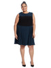 Forest And Black Color Block Ludlow Dress
