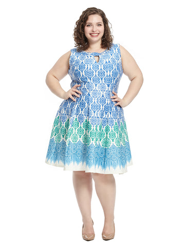 Keyhole Detail Blue Multi Print Fit and Flare Dress