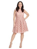 Lace Dress With Key Hole Detail In Dusty Pink