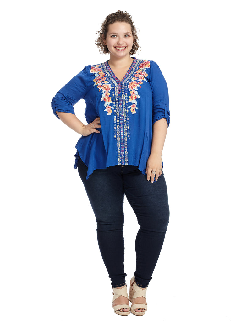 Embroidered Hanky Hem Royal Blue Top