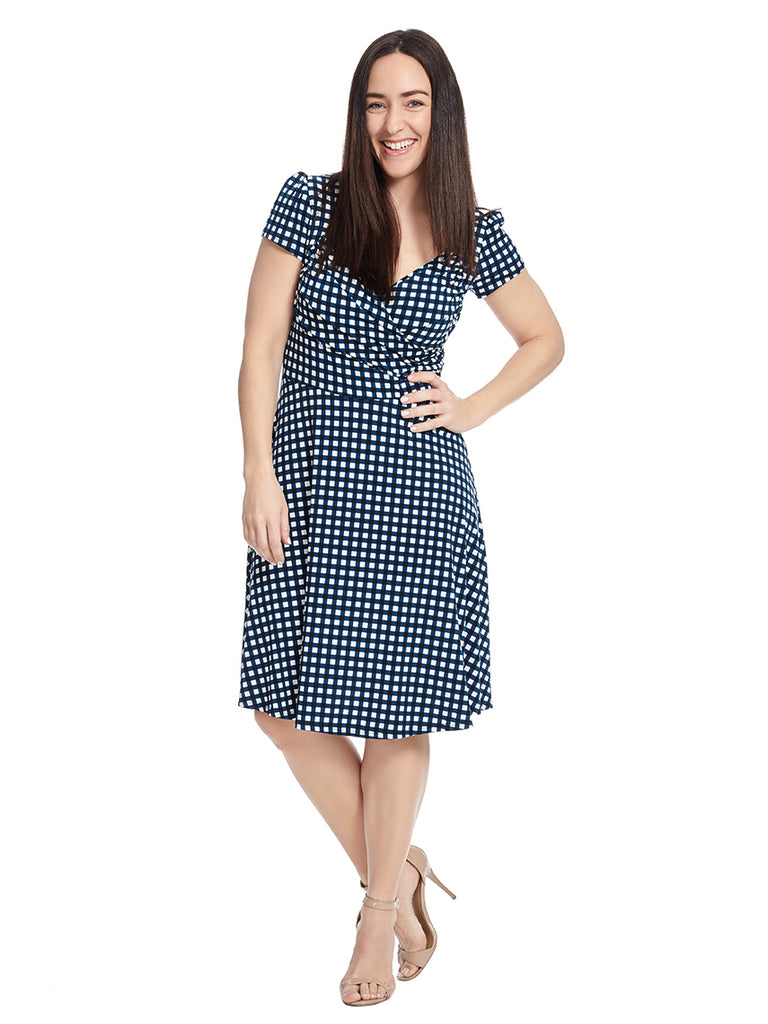 Sweetheart Dress In Gingham Marine