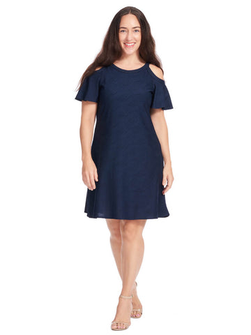 Cold Shoulder Textured Dress In Navy