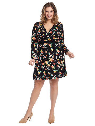 Long Sleeve Floral Printed Faux Wrap Dress