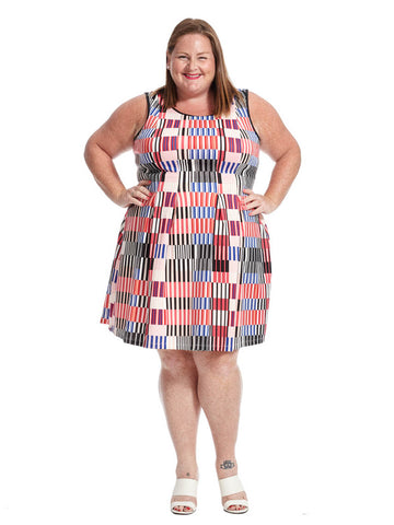 Scuba Fit & Flare Illusion Dress