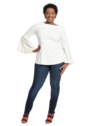 Pleated Sleeve Tunic Top In Soft White