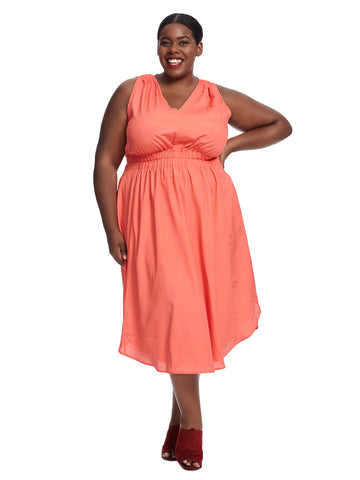 Ruched Shirttail Hem Coral Dress