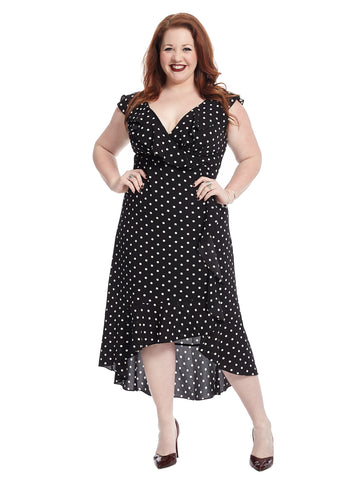 Ruffle Polka Dot Faux Wrap Dress