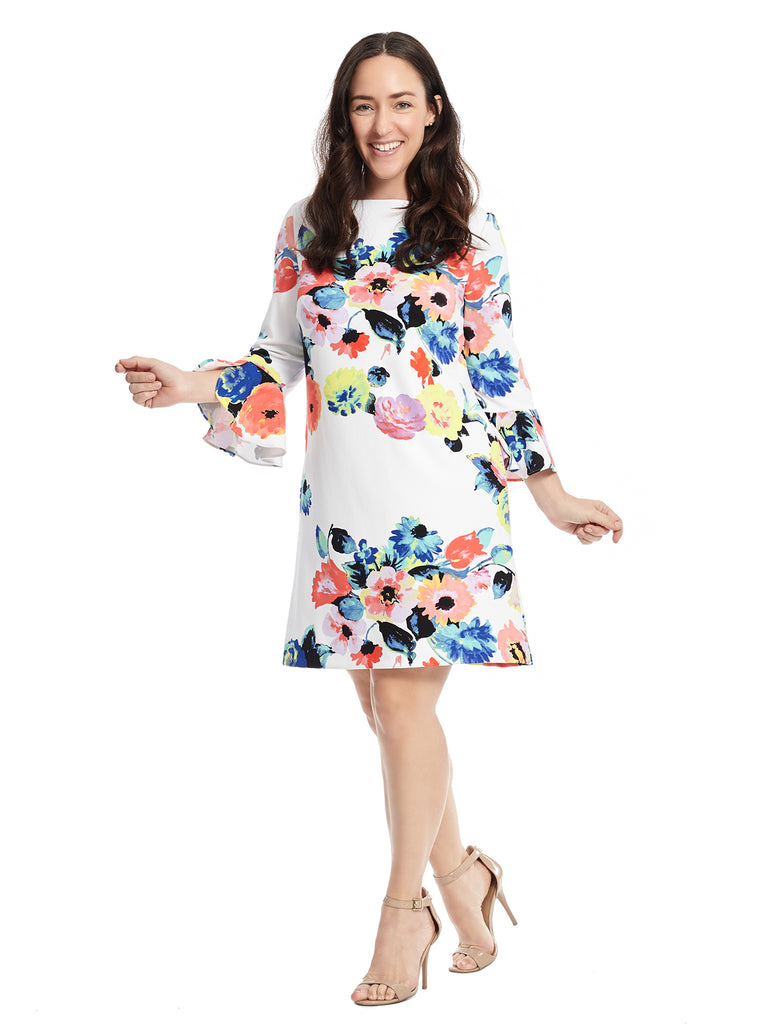 Scuba Crepe Shift Dress In Floral Print
