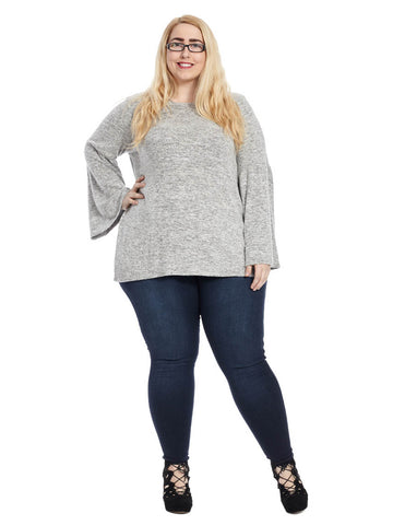 Bell Sleeve Crewneck Top In Grey