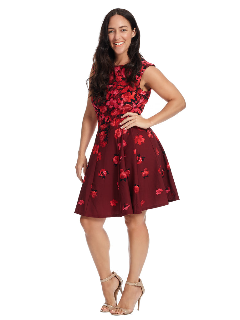Floral Red Scuba Fit And Flare Dress