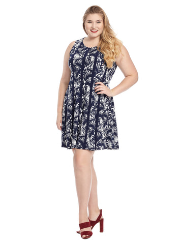 Paneled Navy Tropical Print Fit And Flare Dress