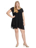Short Sleeve Chiffon Overlay Black Dress