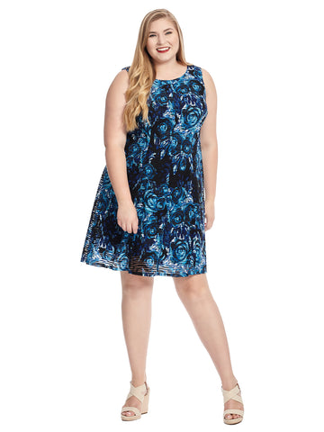 Sleeveless Blue Rose Fit And Flare Dress