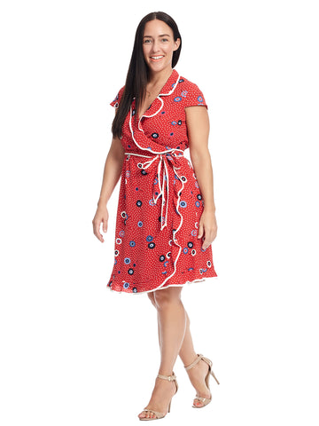 Red Floral Daytime Dapper True Wrap Dress