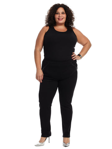 Comfort Fit Tech Ponte Black Slim Pants