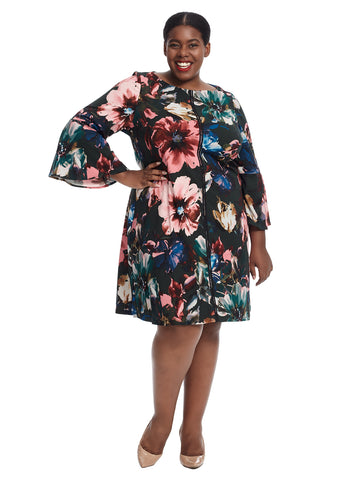 Bell Sleeve Floral Shift Dress