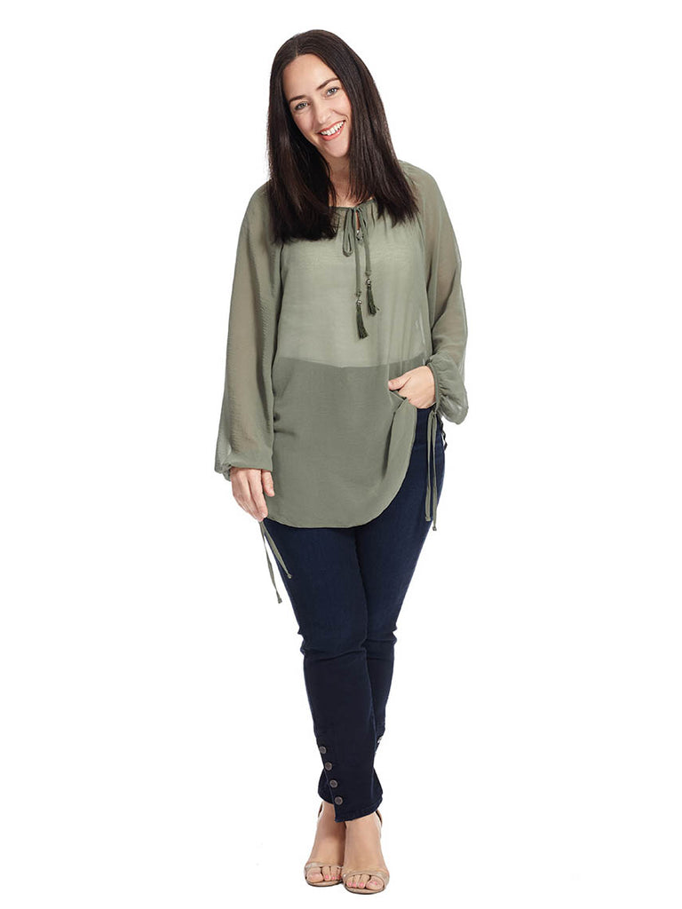 Gypsy Top In Olive Green